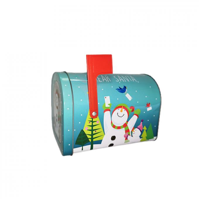 Decorative Mailbox Shaped Gift Boxes , Christmas Cake Tin Box For Biscuit Packing